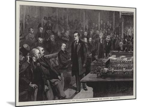 The Opening of Parliament, Mr Chamberlain Entering the House of Commons--Mounted Giclee Print