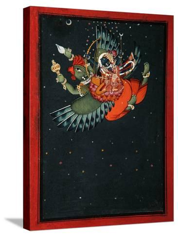 On the Wings of Garuda: Krishna and Satyabhama Fly Through the Night Sky, C.1750--Stretched Canvas Print