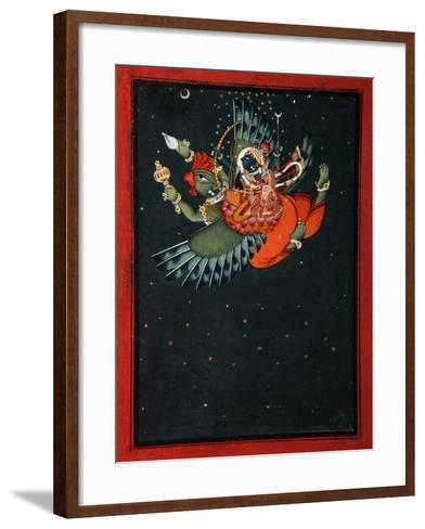 On the Wings of Garuda: Krishna and Satyabhama Fly Through the Night Sky, C.1750--Framed Art Print