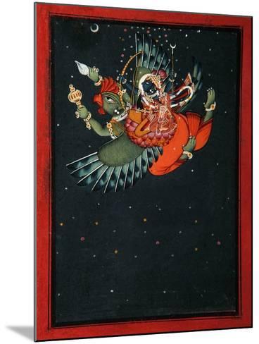On the Wings of Garuda: Krishna and Satyabhama Fly Through the Night Sky, C.1750--Mounted Giclee Print
