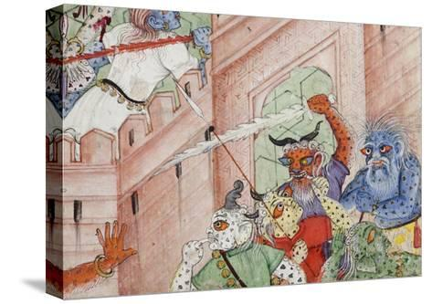 Detail from Krishna Cleaves the Demon Narakasura with His Discus, C.1585-90--Stretched Canvas Print