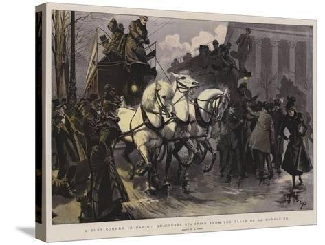 A Busy Corner in Paris, Omnibuses Starting from the Place De La Madeleine--Stretched Canvas Print