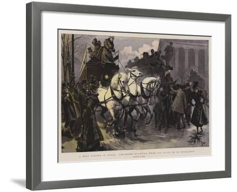A Busy Corner in Paris, Omnibuses Starting from the Place De La Madeleine--Framed Art Print