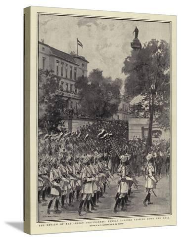 The Review of the Indian Contingents, Bengal Lancers Passing Down the Mall--Stretched Canvas Print