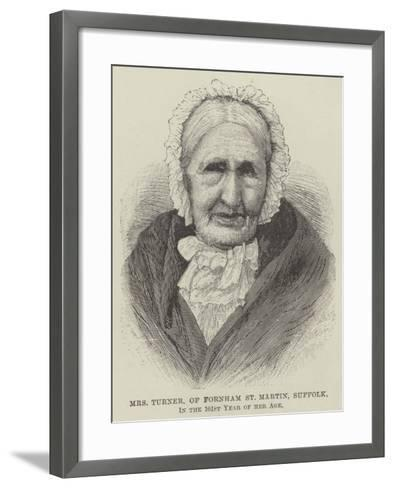 Mrs Turner, of Fornham St Martin, Suffolk, in the 101st Year of Her Age--Framed Art Print