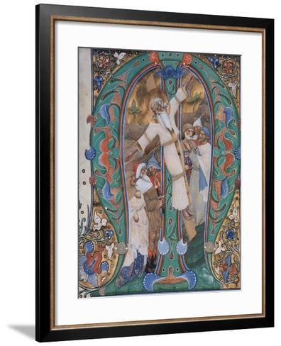 The Crucifixion of St. Andrew, 1440-50 (Tempera and Gold Leaf on Parchment)--Framed Art Print