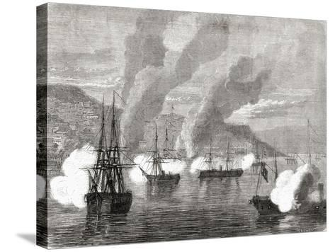 The Bombardment of Valparaiso on 31 March 1866, from 'L'Univers Illustré', 1866--Stretched Canvas Print