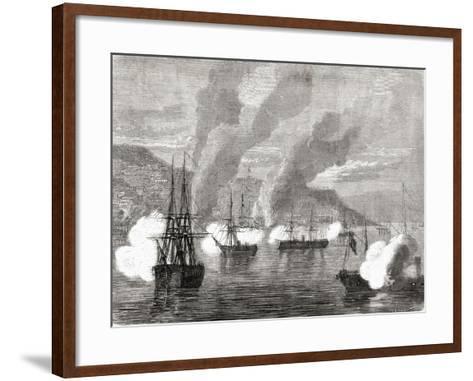 The Bombardment of Valparaiso on 31 March 1866, from 'L'Univers Illustré', 1866--Framed Art Print