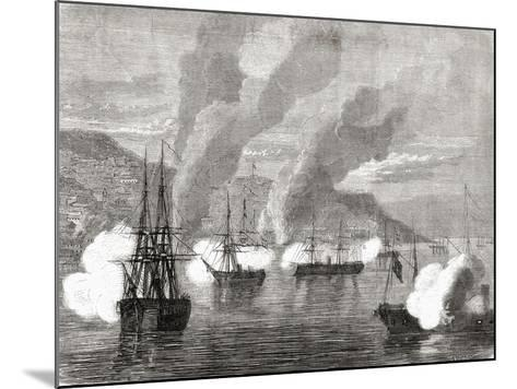 The Bombardment of Valparaiso on 31 March 1866, from 'L'Univers Illustré', 1866--Mounted Giclee Print