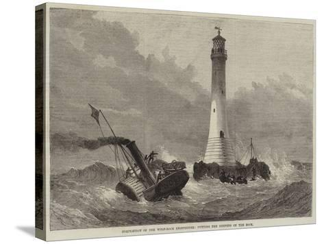 Completion of the Wolf-Rock Lighthouse, Putting the Keepers on the Rock--Stretched Canvas Print