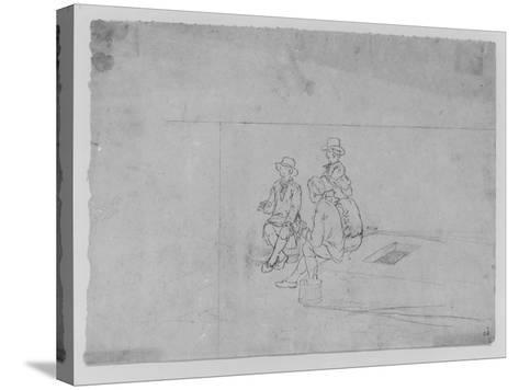 A Joshua Shaw Sketch Depicting a Group of Traveler on the Roof of a Large Flat Boat--Stretched Canvas Print