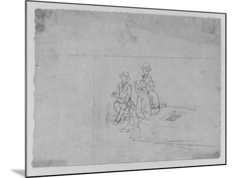 A Joshua Shaw Sketch Depicting a Group of Traveler on the Roof of a Large Flat Boat--Mounted Giclee Print