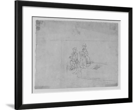 A Joshua Shaw Sketch Depicting a Group of Traveler on the Roof of a Large Flat Boat--Framed Art Print