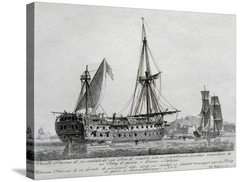 French Ship with 74 Guns with its Mainmast Destroyed, France, 18th Century--Stretched Canvas Print