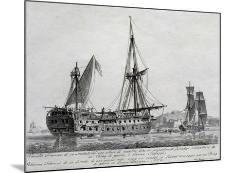 French Ship with 74 Guns with its Mainmast Destroyed, France, 18th Century--Mounted Giclee Print