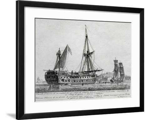 French Ship with 74 Guns with its Mainmast Destroyed, France, 18th Century--Framed Art Print