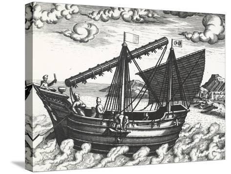 Chinese Junk, Originating from Peregrinationes, by Johann Theodore De Bry, 17th Century--Stretched Canvas Print