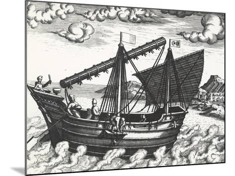 Chinese Junk, Originating from Peregrinationes, by Johann Theodore De Bry, 17th Century--Mounted Giclee Print
