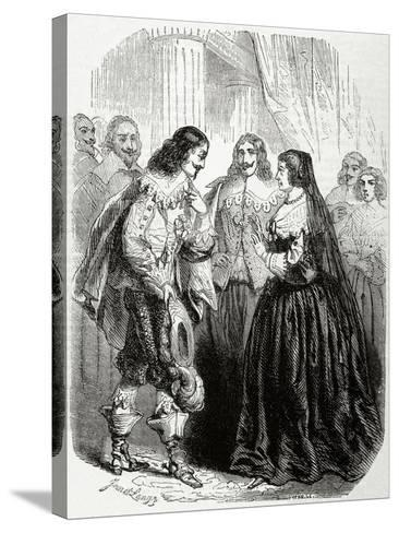 Interview Between the King Louis XIII of France (1601-1643) and His Mother Marie De'Medici--Stretched Canvas Print
