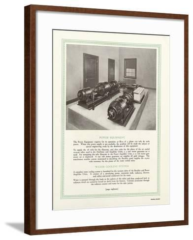 Room Equipped with Western Electric Company's Power Equipment and Water Cooling System--Framed Art Print