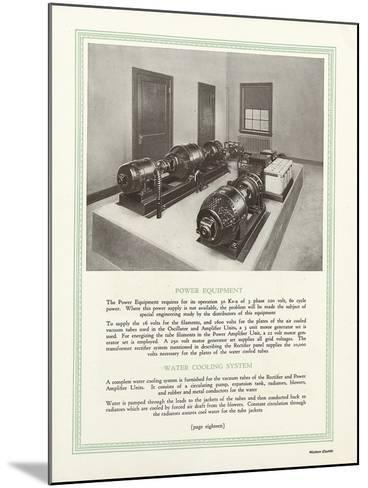 Room Equipped with Western Electric Company's Power Equipment and Water Cooling System--Mounted Giclee Print