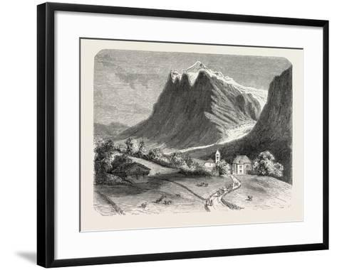The Village of Grindelwald and the Glacier, Near the Wetterhorn. Switzerland, 1855,--Framed Art Print