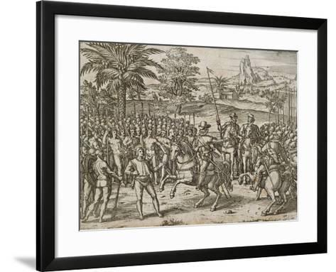 Submission of a Native American Tribe, from American History by Theodore De Bry, 1590,--Framed Art Print