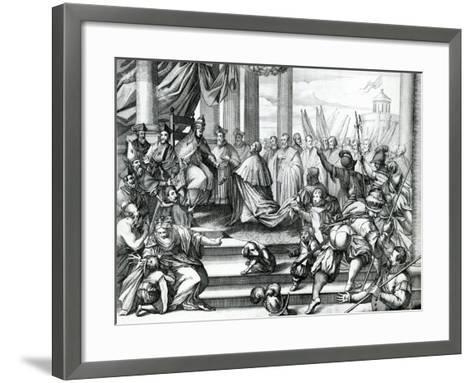 Pope Alexander III (1105-81) Offering Doge Sebatiano Ziani (D.1178) the Blessed--Framed Art Print