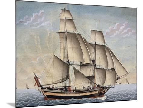 Brigantine Il Veloce, Captain Giuseppe Novaro, 1798, Watercolor by Francesco Resman, Italy--Mounted Giclee Print