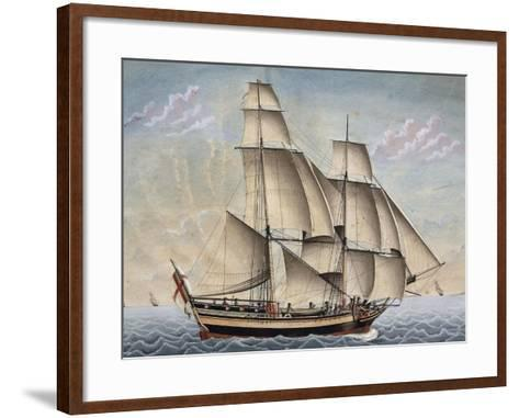 Brigantine Il Veloce, Captain Giuseppe Novaro, 1798, Watercolor by Francesco Resman, Italy--Framed Art Print