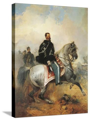 Portrait of Victor Emmanuel II on Horseback, 1820-1878, by Girolamo Induno, 1825-1890--Stretched Canvas Print