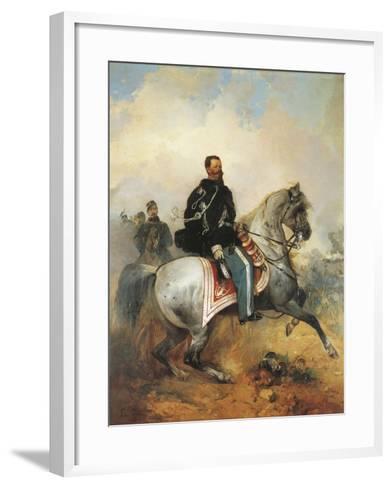 Portrait of Victor Emmanuel II on Horseback, 1820-1878, by Girolamo Induno, 1825-1890--Framed Art Print