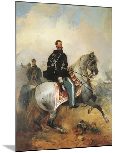 Portrait of Victor Emmanuel II on Horseback, 1820-1878, by Girolamo Induno, 1825-1890--Mounted Giclee Print