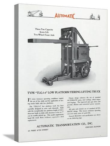 Automatic Transportation Company's Type Tlg 3-4 Low Platform Tiering Lifting Truck--Stretched Canvas Print