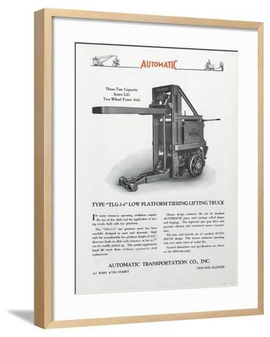 Automatic Transportation Company's Type Tlg 3-4 Low Platform Tiering Lifting Truck--Framed Art Print