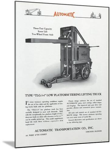 Automatic Transportation Company's Type Tlg 3-4 Low Platform Tiering Lifting Truck--Mounted Giclee Print