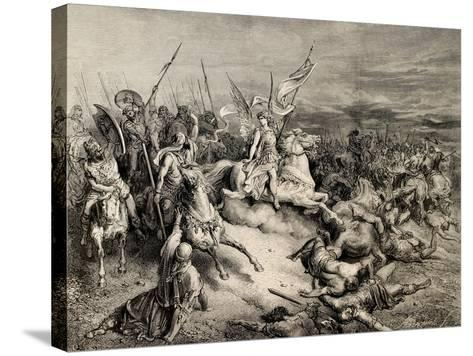 The Bible Illustration. Angel of Maccabees. Draw by Gustave Dore, A. Gusmand--Stretched Canvas Print