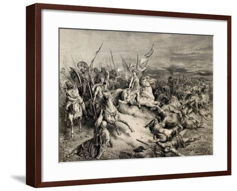 The Bible Illustration. Angel of Maccabees. Draw by Gustave Dore, A. Gusmand--Framed Art Print
