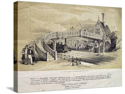 Design for Pedestrian Overpass at Train Station, London, England, UK, 19th Century--Stretched Canvas Print