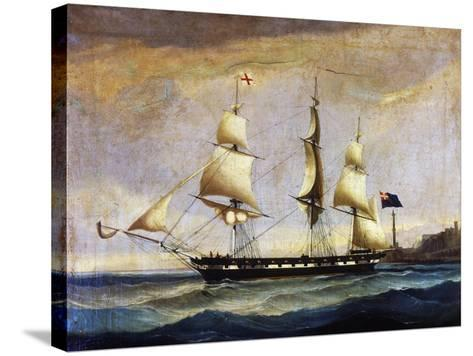 Sardinian Frigate from the 2nd Half of 19th Century, Painting, Italy, 19th Century--Stretched Canvas Print