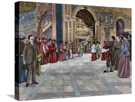 Opening of Sepulchral Monument of Pope Innocent III in the Basilica of St. John Lateran. Italy--Stretched Canvas Print