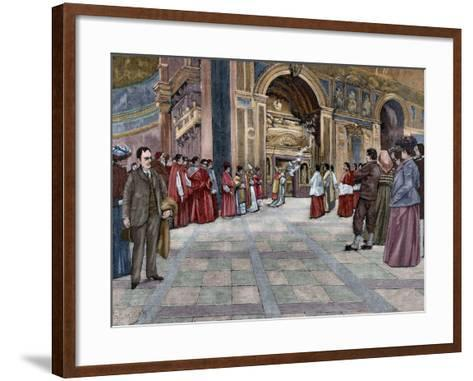 Opening of Sepulchral Monument of Pope Innocent III in the Basilica of St. John Lateran. Italy--Framed Art Print
