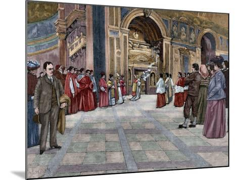 Opening of Sepulchral Monument of Pope Innocent III in the Basilica of St. John Lateran. Italy--Mounted Giclee Print