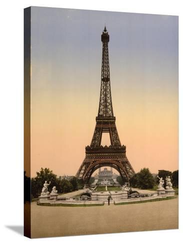 Eiffel Tower, Full-View, Looking Toward the Palais Du Trocadéro, Paris, France, C.1890-C.1900--Stretched Canvas Print