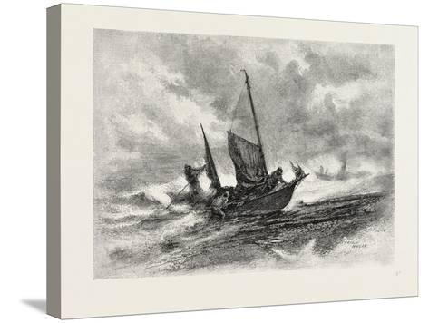 Nova Scotia, Fishermen Landing in a Gale, Canada, Nineteenth Century--Stretched Canvas Print
