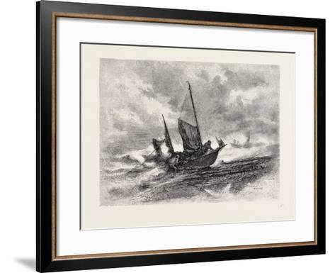 Nova Scotia, Fishermen Landing in a Gale, Canada, Nineteenth Century--Framed Art Print