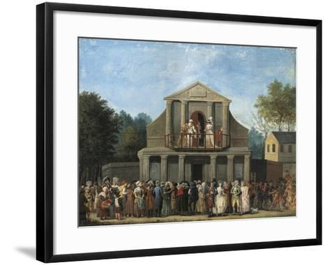 Paris, Farcical Scene in Front of Saint-Laurent Fair Theatre by Unknown Artist--Framed Art Print