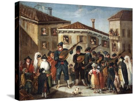 Masquerade Concert, Painting by an Unknown Venetian Artist, 18th Century--Stretched Canvas Print