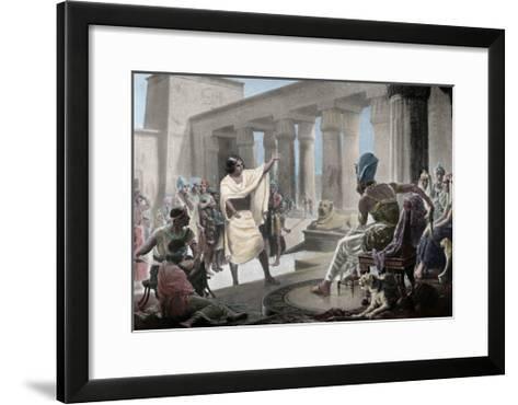 Joseph Interpreting the Pharaoh's Dream. Genesis 41:25-26. 19th Century. Coloured--Framed Art Print