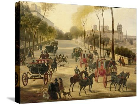 Italy, Rome, Carriage Rides in Pincio Gardens, Unknown Artist, Painting--Stretched Canvas Print